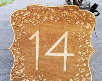 15 Wedding Table Numbers, Engraved Wood Wedding Numbers, Custom Engraved Wooden Table Numbers