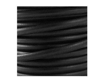 European black round leather cord 5mm - Genuine leather cord - Jewelry findings - First quality leather made in Spain - PER YARD