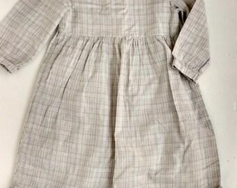Girl's dress, cream handloom,cotton dress, toddler girl's dress, size 3,4,5,6,7,8 yrs
