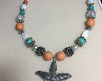 Pewter starfish necklace
