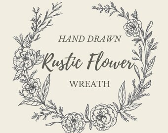 Hand Drawn Rustic Flower Wreath- line drawing, flowers, plants, botanical, rustic, romantic