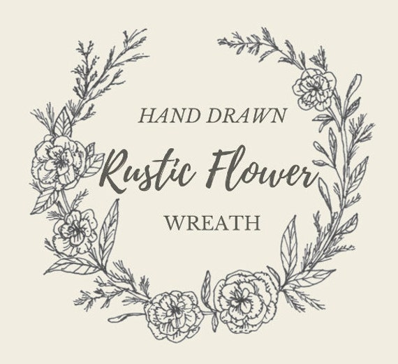 Wedding Flower Line Drawing : Hand drawn rustic flower wreath line drawing flowers