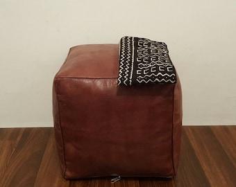 Puf de cuero marroquí auténtico, Puffs de cuero Handcrafted otomano, reposapiés, P33