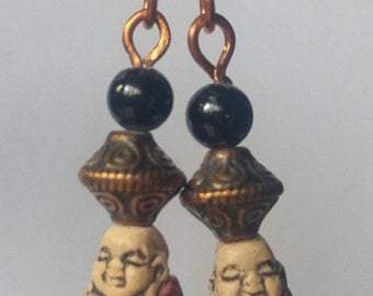 Cute ceramic Buddha earrings