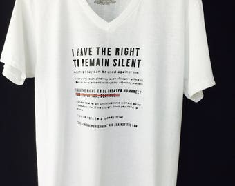 MIRANDA RIGHTS-  Make a statement with this Men T-shirt