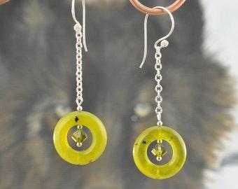 Chartreuse Korean Jade .925 dangle Earrings