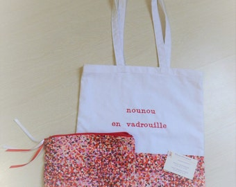 Personalized tote bag and matching pouch