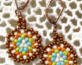Seed Bead Earrings Handmade jewelry women's or girls drop dangle earrings peyote stitch beaded earrings