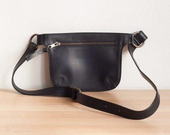 Black Leather Bag, Belt Bag, Fanny Pack Bag,Black Bag Woman, Leather Hip Bag, Festival Fanny Pack,Soft Leather Bag,Belt Purse