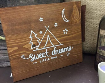 Sweet Dreams Little One Wood Sign Handmade Wood Sign Stained Wood Baby Gift Idea Home Decor
