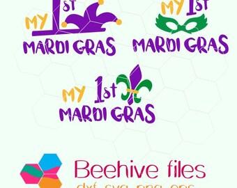 My first Mardi Gras, Fleur De Lis, Mardi Gras in  svg, dxf, png,format. Instant download