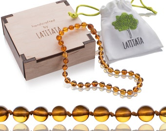 Certified Natural Baltic Amber Teething Necklace - Rounded Stone Beads - Pain Relief Jewelry For Babies & Toddlers - Knotted, Unisex Design
