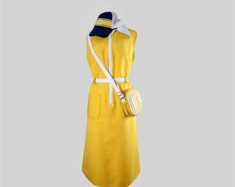 Vintage dress•Vintage yellow dress•womens clothing•scooter dress with a zipper•Mod dress•Vintage Clothing•Vintage Sixties Dress•midi dress