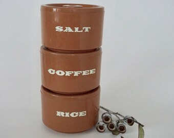 Set of 3 stackable vintage canisters