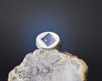 Lavender Blue Chalcedony Silver Ring