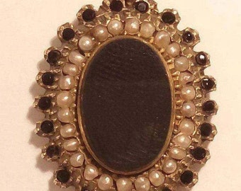 Victorian Mourning Pendant With Gold Chain, Onyx, Seed Pearls, and Jet