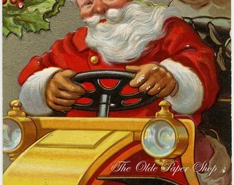 Santa Claus Driving Yellow Car Vintage Embossed Postcard