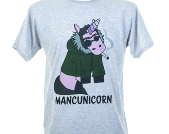 Mancunicorn Liam Gallagher Inspired Colour Grey White T-Shirt (TSHIRT8) Produced in UK Oasis Northern Quarter 90s Britpop Unicorn