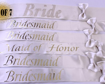 7 Bridesmaid sashes, wedding sashes, Bride sash, Weddings, set of 7, Bachelorette party, Wedding sash, Bachelorette sash
