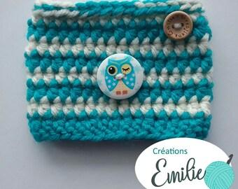 Cup cover Owl 2 tone crochet mug cozy