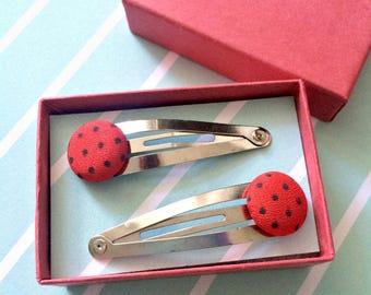 Rockabilly Red Polka Dot Button Hair Clip Hair Slide Retro 1950s Kitsch