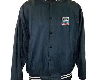 Ford Satin Bomber Jacket Vintage 80s New Holland K-Brand Made In USA Blue Mens Size Large