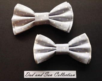 Bow Tie,Dad and Son Bow Ties, Grey Polka Dot Bow Ties, Father Son Bow Ties,Mens Bow Tie, Bowtie, Ring Bearer Bow Tie, Boys Bow Tie  DS669