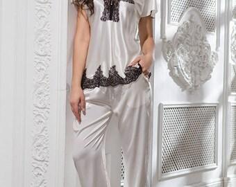 Silk pajamas set. Heritage inspired pajama.