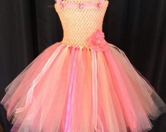 Peach & coral princess tulle tutu dress, tulle tutu dress, tutu dress for girls, birthday dress, gift for her, princess dress, dress up