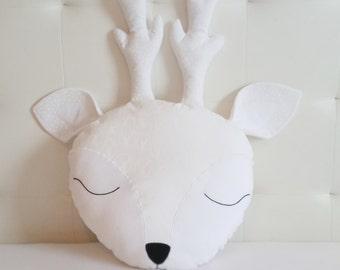 Deer nursery pillow, White sweet deer pillow