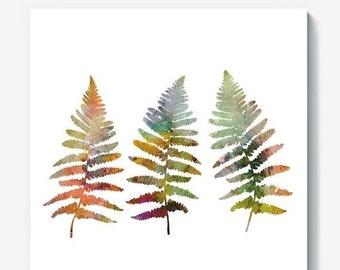 Watercolor Fern Leaves Vector Floral clipart, eps png jpeg , Digital Botanical Illustration,Woodland digital art print,