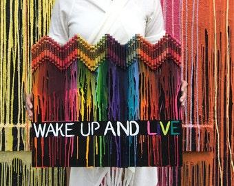 Wake up & Live crayon art