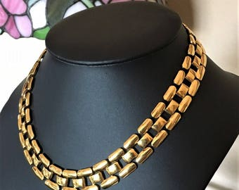 Napier Gold Tone Brick Chain Choker Necklace
