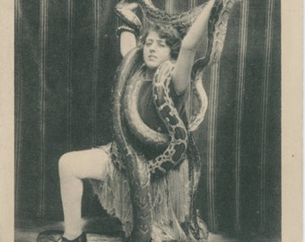 French Circus Postcards | Snake Charmer | Rosina | Mistress of Serpents | Exotic | Dangerous | Sensual Dance |