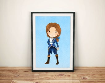 Beauty and Beast Print-Printed Beauty and Beast-Disney Belle Art-Kids Disney Belle-Disney Belle Prints- Disney Belle Prince Print-Belle