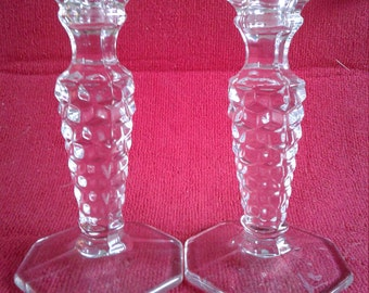 Beautiful Vintage American Fostoria Glass Candle Holders