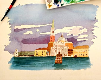 Painting of Venice, original illustration, watercolor landscape on cotton paper, clouds and sky at sunset