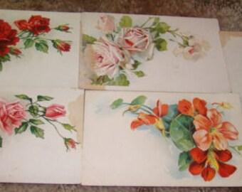 Lot of 5 Vintage Floral Postcards (Craft Lot)