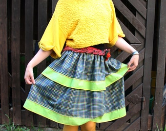 Green Plaid tiered skirt with ruffle