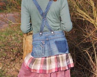 Upcycling denim mini skirt with pink tulle petticoat