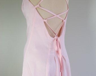 Vintage 70s BACKLESS SLIP DRESS Corset Back Maxi Sheath Pink Prom Dress