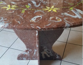 France red marble table inlaid by hand