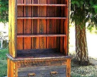Country rustic bookcase, 2 piece bookcase, barnwood bookcase, barnwood furniture, country roads collection