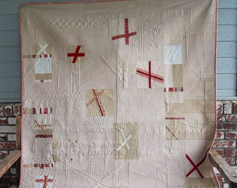 Red, White and Tan Slice and Dice Modern Quilt