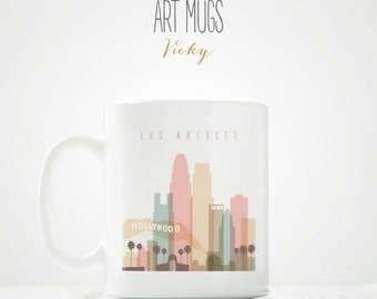 Unique Coffee Mug, Los Angeles skyline mug, Travel gift, travel lovers, City mug, Coffee Cup, Ceramic mug, Coffee Lovers, ArtMugsVicky