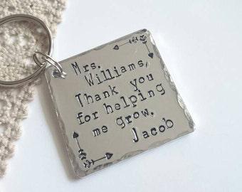 Personalised Teacher Gift , Handstamped teachers keyring, End Of Term Gift, Teacher appreciation gift, Teacher assistant, Thank you gift