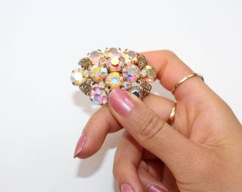 Twinkling Vintage 1950's / 60's Gold Tone Cluster Aurora Borealis Stone Brooch Costume Jewellery