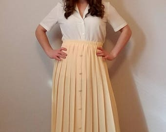 Yellow Side Pleated Knee Length Buttoned Skirt- Made in France