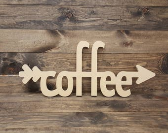 """33"""" Coffee Arrow Cutout Typography Unfinished Sign MM-0055"""