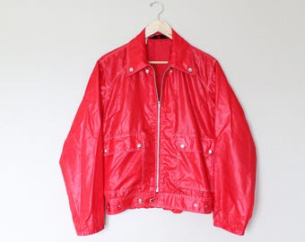 1970s Vintage Red Envoy Nylon Jacket